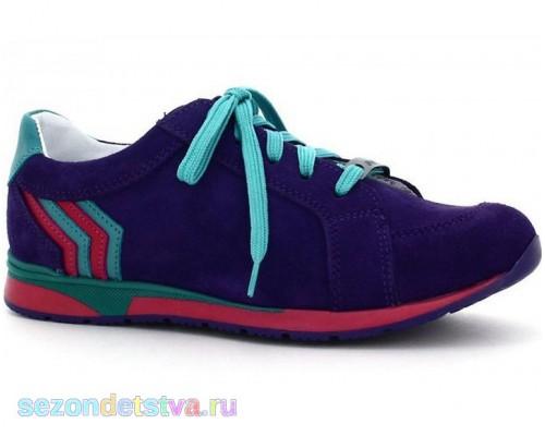 Полуботинки Бартек для девочки фиолетовые на шнурках