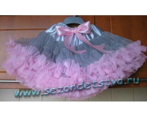 Пышная юбка серо-розовая