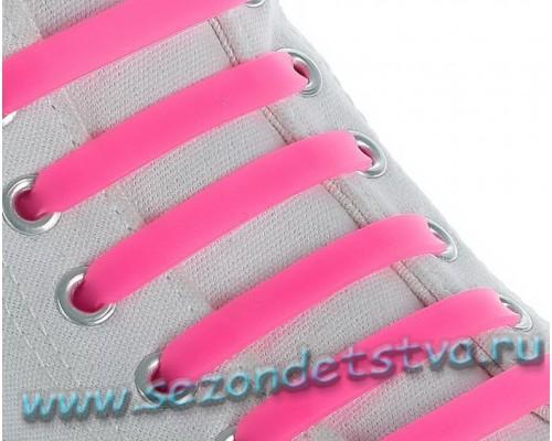 Шнурки для обуви Силиконовые, плоские, цвет розовый неон