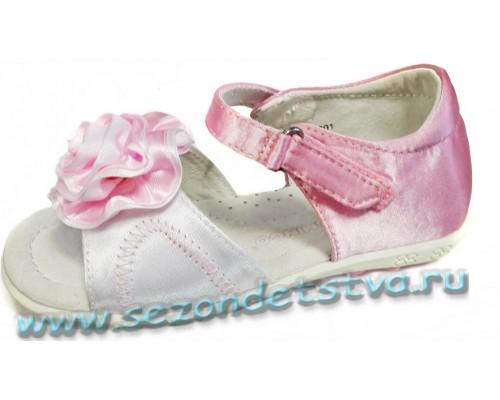 Сандалии бело-розовые