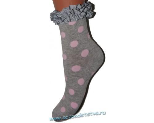 Носки серые Горошек Корея
