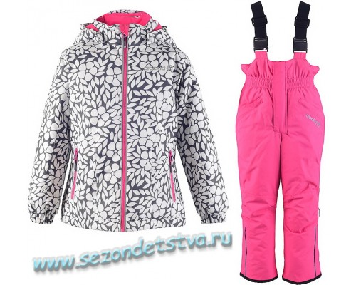 Комплект (брюки, полукомбинезон) зимний для девочки Crockid белый с серым и розовым ВК 20035/Н/1