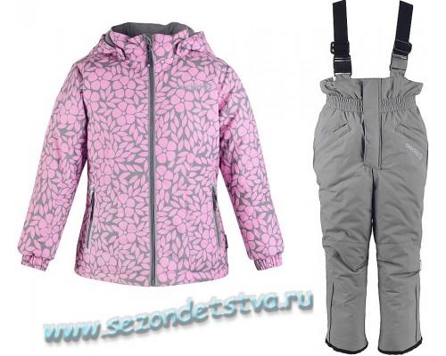 Комплект (брюки, полукомбинезон) зимний для девочки Crockid розовый/принт/серый ВК 20035/Н/1