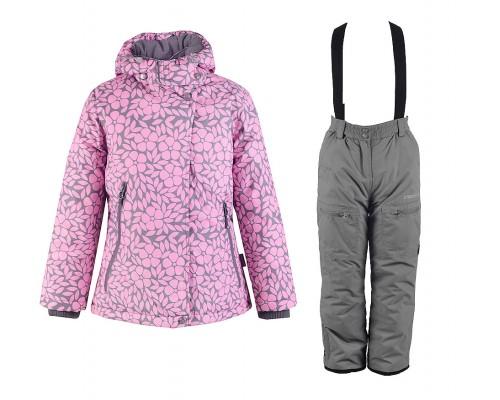 Комплект (брюки, полукомбинезон) зимний для девочки Crockid розовый/серый