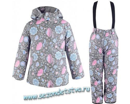 Зимний мембранный Комплект для девочки Crockid серый с принтом