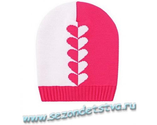 К 236/7розовый+белый шапка для девочки
