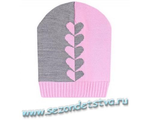 К 236/7св.сер.меланж+св.розовый шапка для девочки