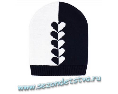 К 236/7тем.синий+белый шапка для девочки