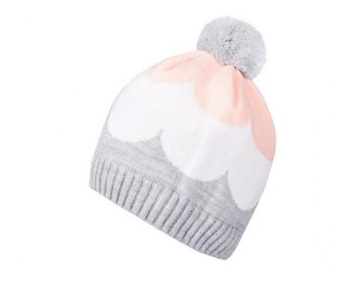 К 263/ш/св.сер.меланж+персик шапка для девочки