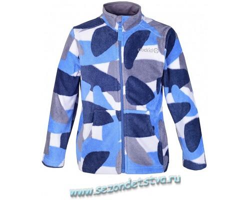 34015/н/5 Крокид куртка детская флисовая, синяя/принт