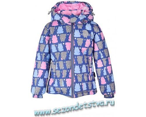 ВК 34013/н/1 Куртка пуховая для девочки Crockid синяя/цветной принт