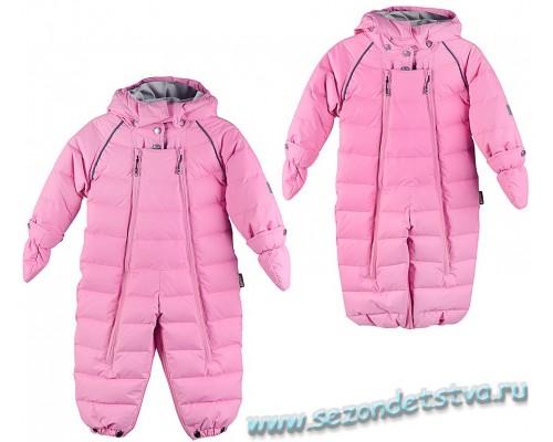Комбинезон-трансформер пуховый зимний для девочки розовый