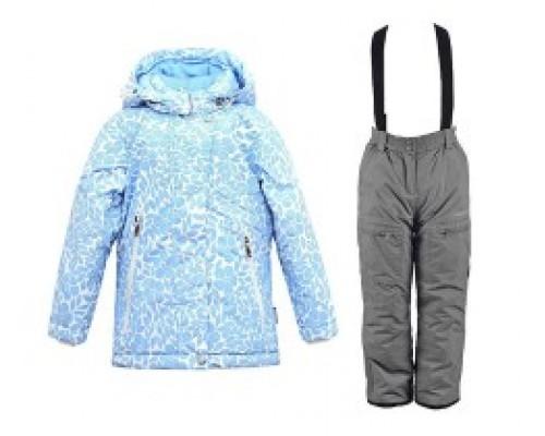 Комплект (брюки, полукомбинезон) зимний для девочки Crockid голубой/серый