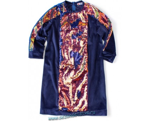 Платье сине-золотое