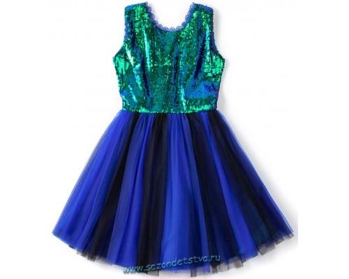 Платье изумрудно-синее