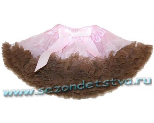 Пышная юбка розовая/коричневая