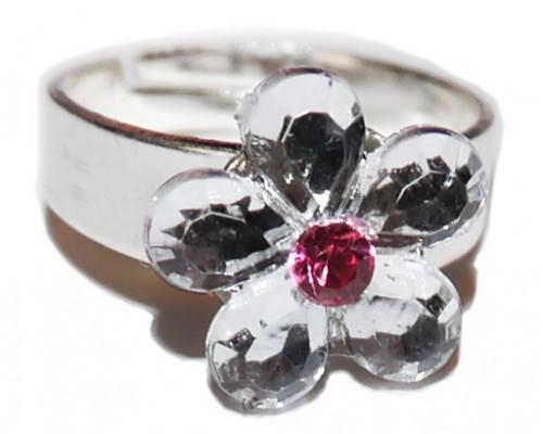 Кольцо розовое для девочки с цветком в разных цветах