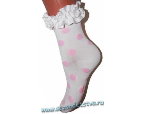 Носки молочные Горошек Корея