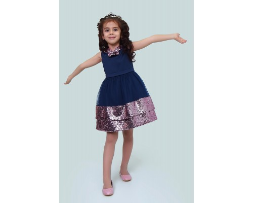 Платье Ladetto 1Н60-4 Ладетто, цвет темно-синий/розовый