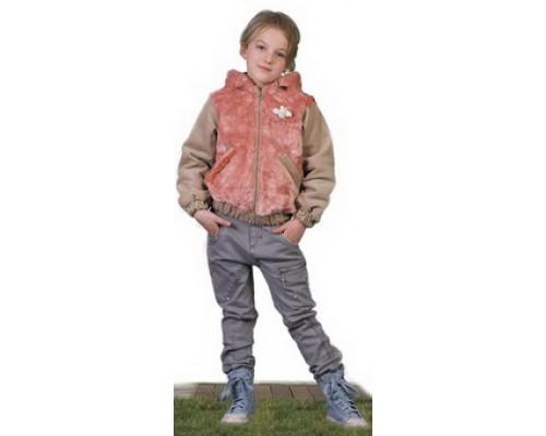 Куртка на флисе серо-розовая для девочки 2063 Орби