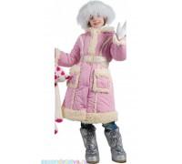 Пальто-дубленка розовое