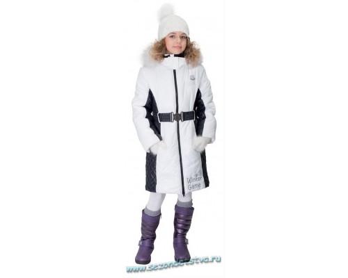 Пальто зимнее белое с черным Orby 60893