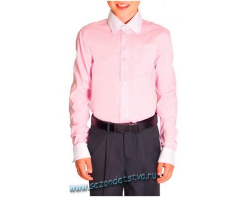 Орби школьная сорочка для мальчика розовая с белым