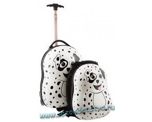 Комплект чемодан и рюкзак Витачи белый с черным