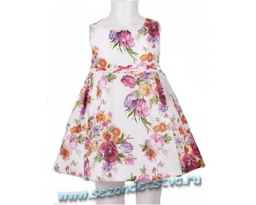 Платье для девочки, цвет белый, цветочный рисунок.